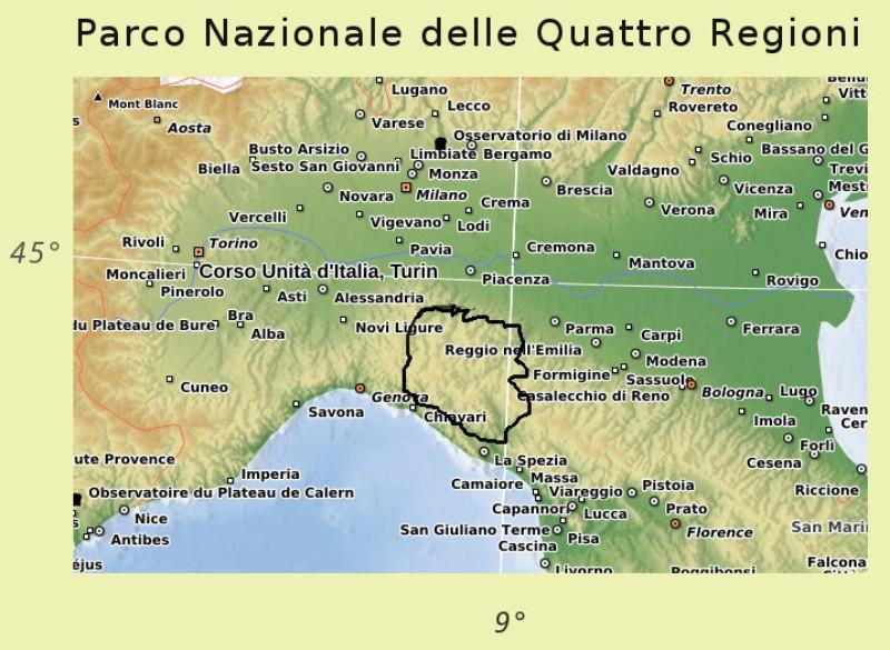 Cartina Italia Riccione.Parco Quattro Regioni